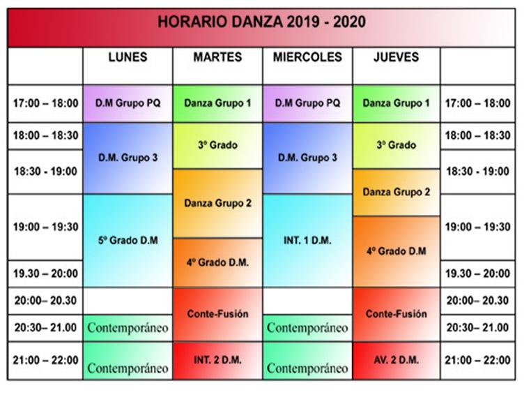 Horario 2019/2020 Oasis Danza